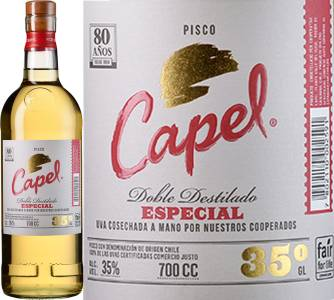 Pisco Capel Especial, Doble Destilado, 35%