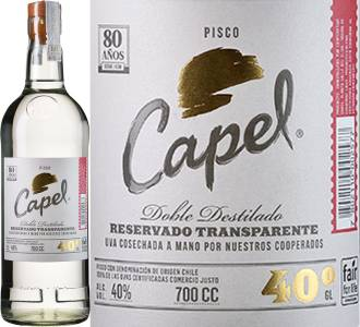 Pisco Capel Reservado Transparente Doble Destilado 40% aus Chile